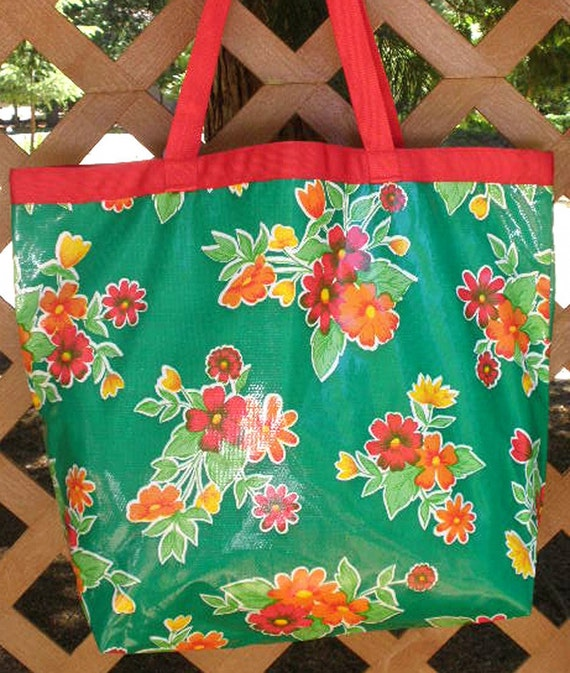 Oilcloth Tote Bag - Beach Bag - Market Bag - Orange, Red, Yellow Flowers on Green  Reversible to White Polka Dots on Red