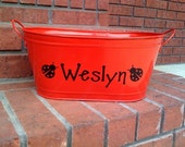 Personalized Red Ladybug Metal Bucket