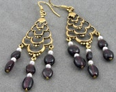 New Lower Price Handmade Gold, Garnet and Pearl Chandelier Earrings