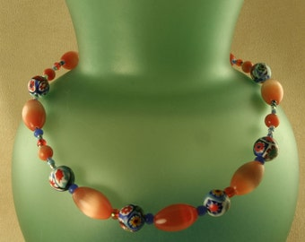 Orange Glow Fiber Optics Bead Necklace