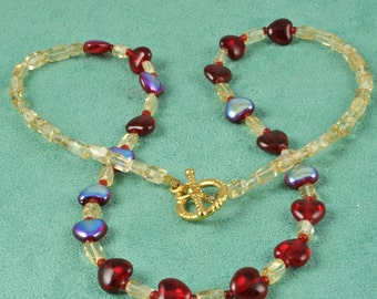Sparkling Red Heart Glass Necklace - Hearts Aglow