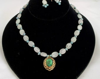 New Lower Price Green and Blue Ocean Colored Bead Necklace and Earrings - Aquarius