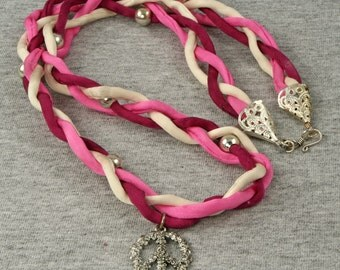 Code Pink - Pink Red White Braided Ribbon Necklace with Floral Silver Peace Sign