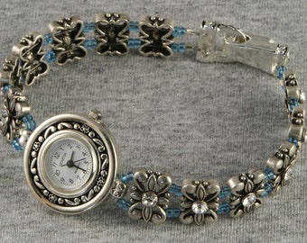 Handmade Watch - Crystal Adorned Butterflies with Teal Glass Beads