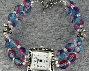 New Lower Price Handmade Silver Watch Pink Blue Purple Glass Beads