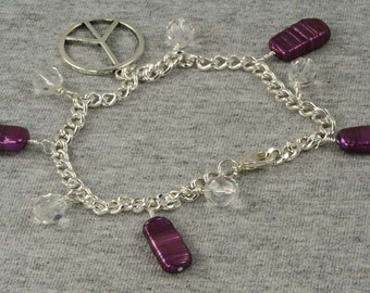 On Sale Handmade Purple and Silver Peace Sign Bracelet