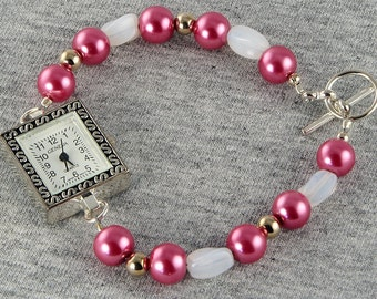 Handmade Pink Pearl Silver Watch