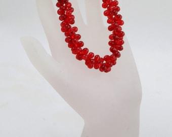Handmade Red Teardrop Beaded Bracelet