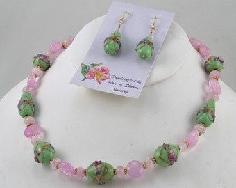 Handmade Pink and Green Bead Necklace and Earrings