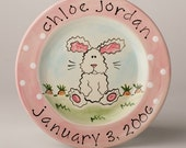 birth gift, baby gift, first birthday personalized hand painted baby bunny ceramic birth plate