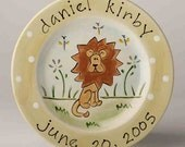 birth gift, baby gift, first birthday hand painted personalized custom baby lion birth plate
