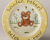 birth gift, baby gift, first birthday personalized hand painted baby bear birth plate