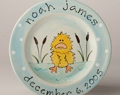 birth gift, baby gift, first birthday personalized hand painted fuzzy duck baby birth plate