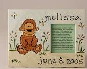 hand painted personalized baby monkey ceramic photo frame