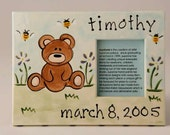 hand painted personalized baby bear photo frame