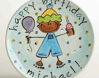 personalized happy birthday cake plate (boy)