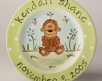 birth gift, baby gift, first birthday personalized hand painted baby monkey birth plate