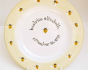 personalized hand painted bumble bees baby birth plate