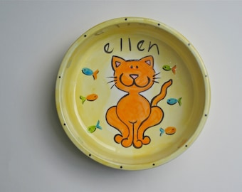 hand painted personalized ceramic kitty cat bowl