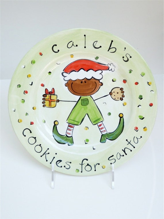 personalized cookies for santa elf boy plate