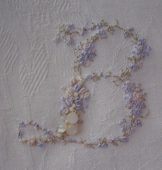 Elegant Hand Embroidered B Monogram on Your Choice of Vintage Linen Hankerchief