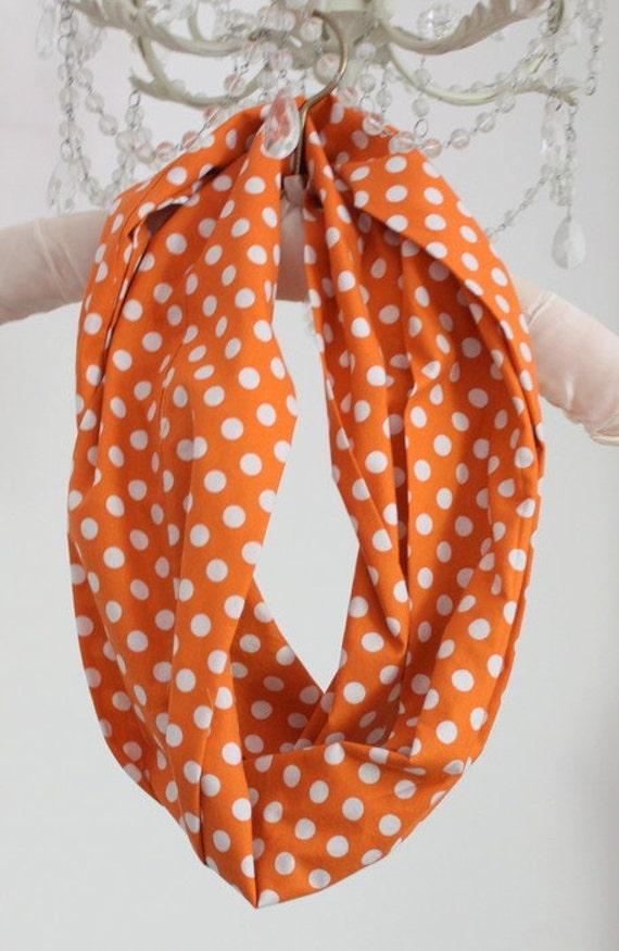 White Polka dots on crisp Orange Cotton Infinity Scarf