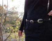 Black Leather Braided Concho Belt