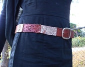 Brown & Silver Tooled Leather Belt