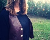 Vintage Leather Vest w/ Antler Buttons