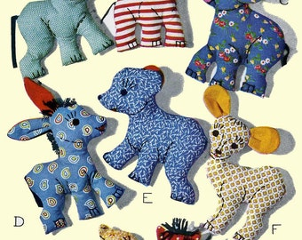1078 Vintage Toy Pattern Animals Easy to Make