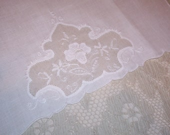 Vintage White Hand Embroidered Towel
