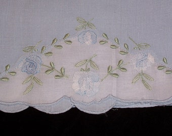 Vintage Blue Towel with Hand Embroidery