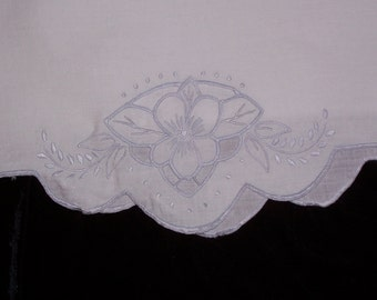 Vintage Pillowcase with Hand Embroidery in Blue