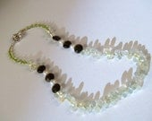 Jane Necklace -- Green Peridot, Freshwater Pearl and Smoky Quartz