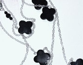 Clover Onyx sterling silver chain necklace