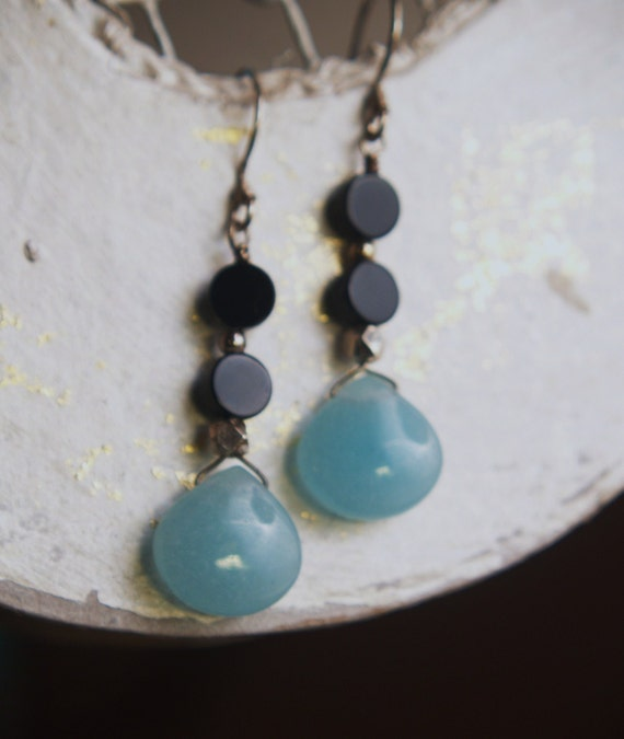 Blue and Black combination Earrings-Chalcedony and Onyx