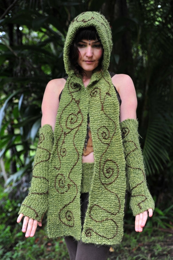 Knitted Pixie Woodland Hooded Scarf Arm Warmers And Belt OOAK
