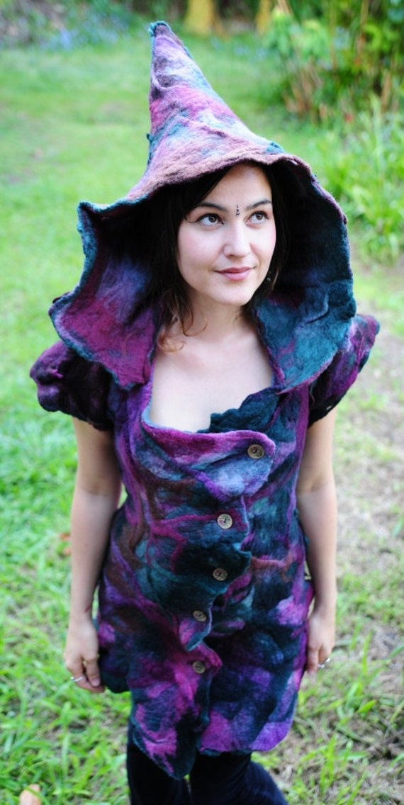 Felt Melted Mini Witches Dress With Pixie Hood OOAK