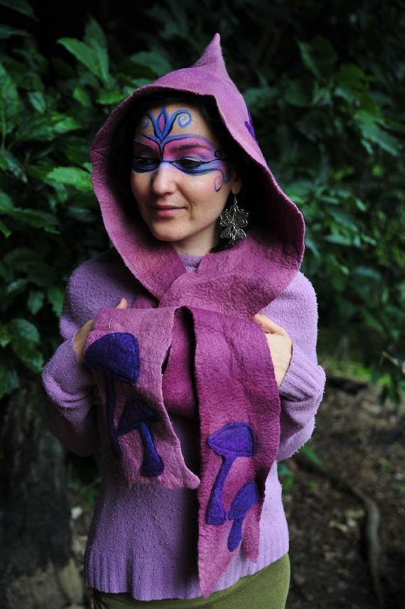 Felt Fairy Butterfly Magic Mushroom Hooded Pixie Scarf OOAK