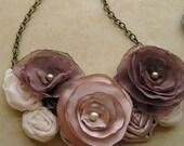 Coffee and Cream fabric flower bib necklace