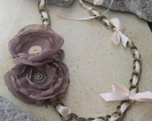 Vintage Petals Ribbon and Chain necklace