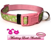 SHA-DAISY Pink and Lime Green with White Daisies Dog Collar
