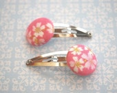 The Sweetest Sakura - Pink Covered Button Snap Clips