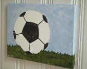 "boys kids room decor..baby nursery wall art..original canvas painting..painted artwork..11 x 14 sports ball field grass ""soccer time"""