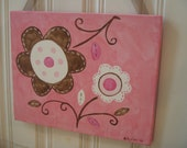 "girl kid room decor..baby nursery wall art..original canvas painting..painted artwork..11 x 14 floral flower pink brown ""pretty posies 2"""