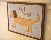 "boy kid room decor..baby nursery wall art..original canvas painting..hand painted artwork..11 x 14 dog puppy ""best friend brown dog"""