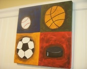 boy kid room decor..baby nursery wall art..original canvas painting..artwork..12 x 12 baseball basketball soccer hockey sports collage