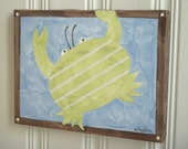 "boy kid room decor..baby nursery wall art..original canvas painting..hand painted artwork..11 x 14 crab ocean sea blue green ""christopher"""