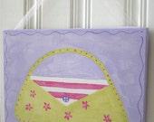 "girl kids room decor...baby nursery wall art...original canvas painting...hand painted artwork...11 x 14 green lilac ""purple purse parade"""