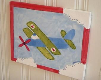 Airplane canvas painting 11 x 14 Original handmade Boy room decor Baby nursery Children wall art Kid bedroom Shower Vintage plane biplane